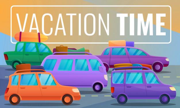 Premium Vector | Car vacation time on cartoon style